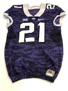 Game Worn Used Nike TCU Horned Frogs Football Jersey Size 38 #21