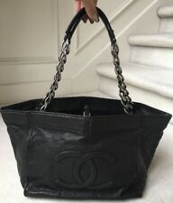 "**CHANEL BLACK CAVIAR TOTE Authentic ** ""LOOK"""