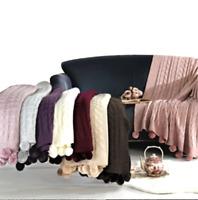 Pompom Luxus Sitzbezug Kuscheldecke 130 cm x 170 cm TV Sofa Decke