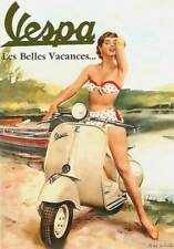 "RETRO PINUP VESPA GIRL-  CANVAS ART PRINT poster bikini scooter 16""X 12"""