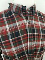 Eddie Bauer Classic Fit Red Grey Plaid Button Down Long Sleeve Flannel Shirt XL
