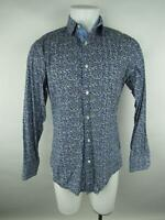 Banana Republic Men sz M Blue Cotton Tailored Slim Fit Floral Button-Front Shirt