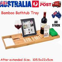 Bathroom Bamboo Bath Caddy Wine Glass Holder Table Tray Bathtub Rack Support VIC