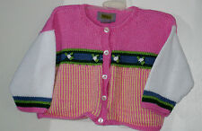 TIKA Girls Size 18-24 Months Pink Hand Knitted Cardigan Sweater