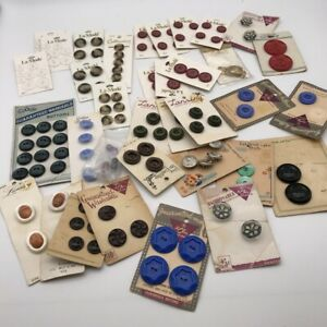 LOT of Vintage Buttons on Cards Lady Washington Pearls Chic Lansing Blue LaMode