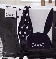 NEW Pottery Barn TEEN The Emily & Meritt Critter Towel Set  - Black & White