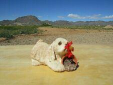 Sandicast, Vintage 1990 Cocker Spaniel Figurine, Red Flower in mouth flower pot