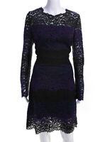 Elie Tahari Womens Striped Floral Lace A Line Dress Black Blue Purple Size 12