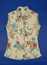 Please camicia gilet smanicato donna usato M shirt used floreale boyfriend T5228