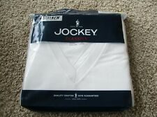 "BNIP Jockey 4pk V-neck T-shirts, white, Men, Size S(34-36"" chest), 100% cotton"