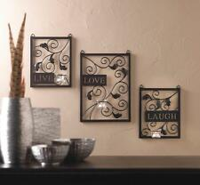 Country Live Laugh Love Quote Wall Tealight Candle Holder Sconce Set of 3 Accent