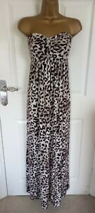 """Geri by Next Size UK-14 Unlined strapless long animal print dress BUST 38"""""""