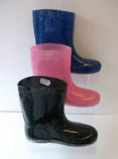Girls Pink/Black/Blue Glitter Wellington Boots UK Sizes 5 - 12 X1125