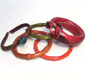 Natural Bamboo & Leather Bracelet Lot - Aventurine Bezel In Leather Tribal Art