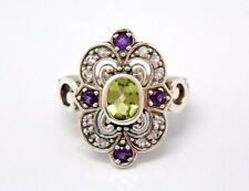 Peridot Amethyst White Topaz Size 54 Silver 925 Antique Style Sterling Silver