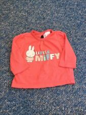 Miffi bunny coral pink rabbit long sleeved top baby girls 0-3 months clothes
