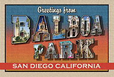 GREETINGS FROM BALBOA PARK-New Large Letter Postcard-Signed L. Fulton-Ltd Ed 100