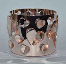 BATH BODY WORKS ROSE GOLD OPEN HEARTS LARGE 3 WICK CANDLE HOLDER SLEEVE 14.5 OZ