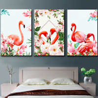 Abstract Art Red Flamingo 3 Pieces Canvas Wall Art Picture Painting Home Decor