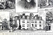 Faribault Minnesota 1888 WHIPPLE INSTITUTE MEMORIAL BUILDINGS Matted Art Print
