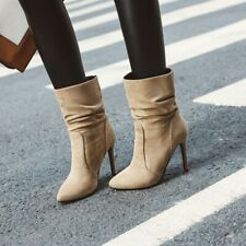 Women's Suede Fabric Pull On Slouch Ankle Boot High Heel Celeb Size 34-43 Sexy