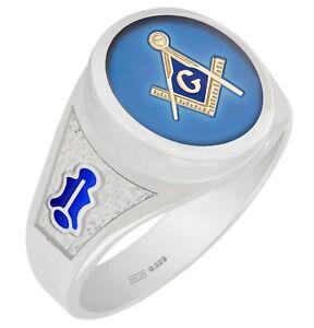Customizable Men's Sterling Silver Gold Masonic Freemason Mason Ring