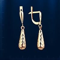 Russian solid rose gold 585 /14k drop earrings NWT