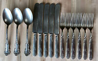 Rare 1950s Panama Silver 14 pc Forks Knives Spoons SILVERWARE Flatware Nickel