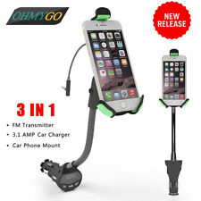 Car Phone Holder Mount with 3.1A USB Charger FM Transmitter for  IPhone Samsung