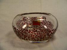Friedrich Kristall Aschenbecher mit roten Einfärbungen Mundgeblasen Ø 12,8 cm