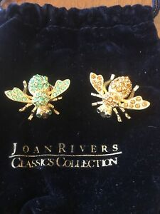 Pair Of Joan Rivers Bee Pins - 1 with Green stones , 1 with burnt orange stones