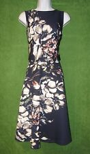 Taylor Blue Gray Pink Ivory Floral Knit Fit Flare Work Social Dress 6 $138