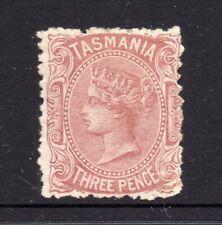 Tasmania: 3d Red Brown Sideface Qv Sg 161 Perf 11.5 Wmk Tas Mh.