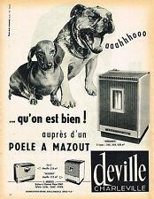 PUBLICITE ADVERTISING 035  1962  DEVILLE CHARLEVILLE     poele à mazout