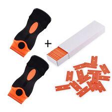 100 Plastic Razor Blades and Razor Scraper Double Edged Sticker Removal Tool USA