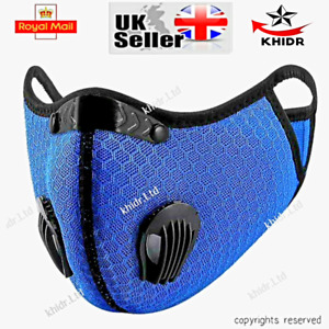 2 Face Masks Washable Mask 2 airvents+1 airvent PM2.5 reusable 1/2 valve Uk Sell