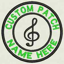 Music Custom Embroidered Tag, Patch, Badge Iron On or Sew On - 3.50""