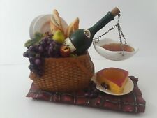 Large Lovely Wax Burner Picnic Basket w/ Wine, Cheese, French Bread, Grapes