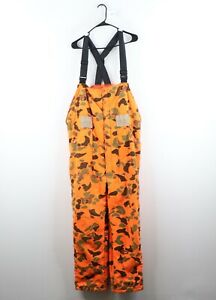Vtg 70s Woolrich Mens Large Distressed Insulated Camouflage Overalls Bibs USA