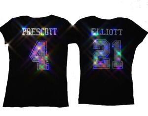 Womens Dallas Cowboys Ezekiel Elliot Crystal Bling Sparkle Jersey