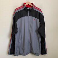 Adidas Mens Track Jacket Clima365 Gray Black Zip Pockets Red 3 Stripe Size XL