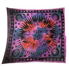 Couverture Tenture indienne soleil demi-lune Violet 230x210cm Coton Décoration