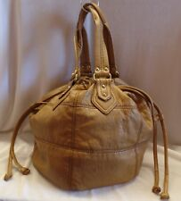 H & M Hennes & Mauritz Med Round Tan Bucket Bag, Beautiful Pre-Owned Condition