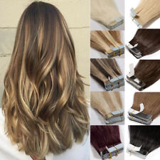 Undetectable 40pc 100g Tape In Glue 100% Real Human Hair Extensions Full Head US