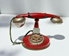 New ListingVintage Red Toll Bank Child's Rotary Telephone, Original Finish