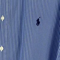 Ralph Lauren Men's 17 1/2 X 44 Blue White Button Down Classic Style Shirt