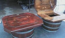 WINE BARREL END TABLES DARK TONE