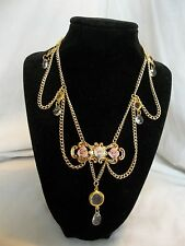 Vintage Victorian ROSE Crystal Gold Tone Wedding Pin Collage Statement Necklace