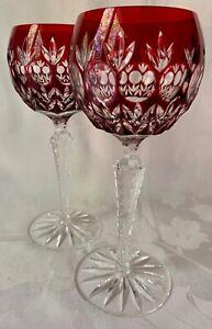 2 SUPERB AJKA HUNGARY CRYSTAL WINE HOCK GOBLETS GLASSES, FLORDERIS, RUBY RED