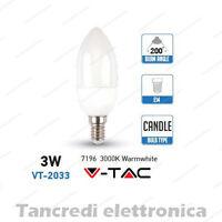 Lampadina led V-TAC 3W = 25W E14 bianco caldo 3000K VT-2033 candela smd VTAC